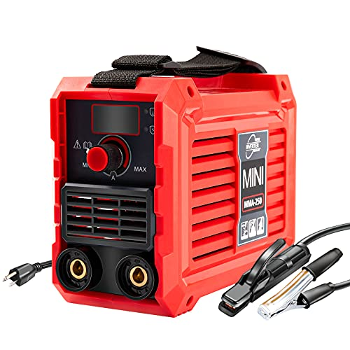 110V Mini ARC Welder 200Amp MMA Welding Machine IGBT Digital LCD Display Electric Welding Machine with Electrode Holder, Work Clamp, Input Power Adapter Cable