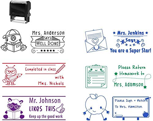 Over 50 Teacher Themed Images!!! Self Inking Custom Teacher Stamp Black Blue Red Green Purple! Great Job Well Done Homework Classroom Grading Gift Completed with Help Stamper Ink