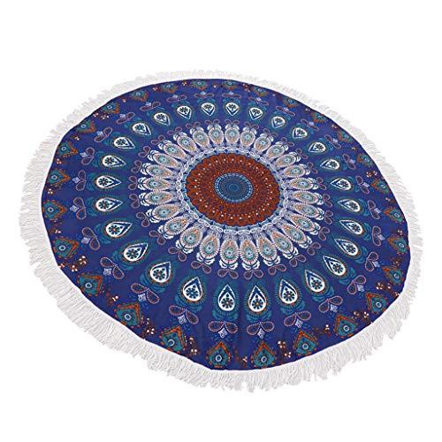 Toalla de Playa Redonda Impresa de Flores Cubierta de Mesa Tapices de Arena Alfombra de Yoga Tapete de Picnic Colgante de Pared - Azul Oscuro