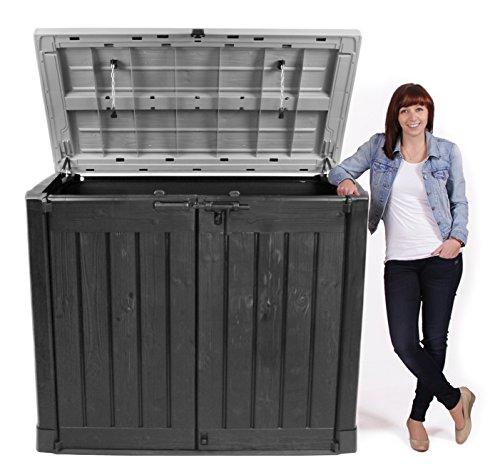 Keter Store It Out Max Gartenbox Mülltonnenbox Gerätebox Schuppen für 2 x 240 Liter Mülltonnen (Anthrazit Grau) - 3