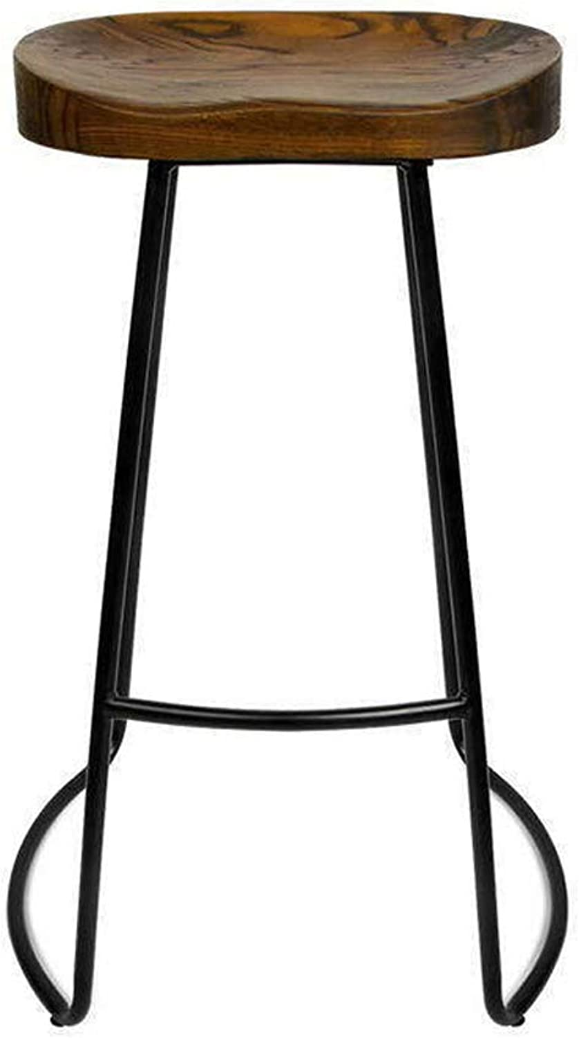 Hai Yan Boutique Nordic Solid Wood Bar Stool Home Bar Coffee Casual Dining Stool Wrought Iron High Chair (color   B, Size   Sitting high 65)