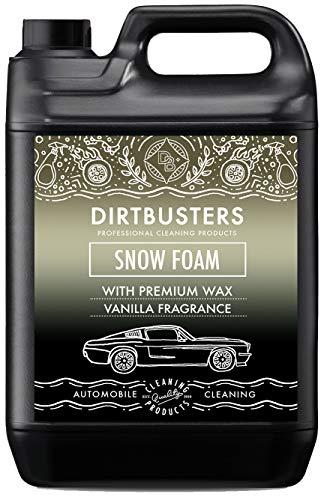Dirtbusters Jabón Líquido Espumoso de Prelavado Snow Foam para Coches. Producto Altamente Espumante. Seguro, No Tóxico con Tratamiento de Polímeros. Acabado Profesional. Aroma a Vainilla. 5 litros