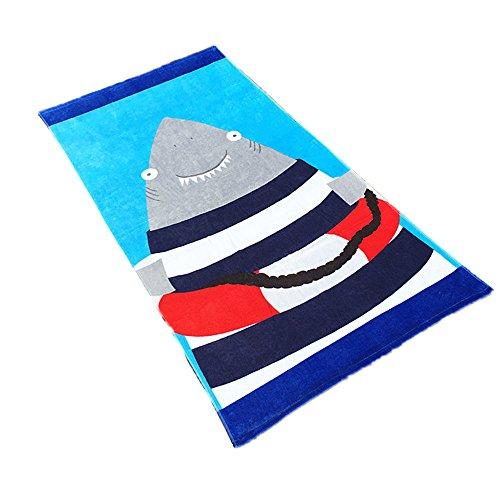 Stillshine Toallas de Playa,Adultos Niños 100% Algodón Estera de Playa Toalla de Deportes Cubierta Natación de Dibujos Animados Surf Viaje Toalla de Playa para Hombre y Mujer 160 * 80cm (Tiburón)