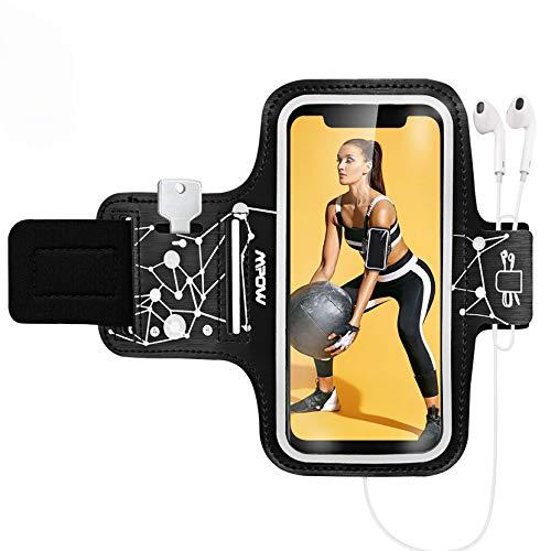 Mpow Sportarmband Handy für iPhone SE 11 Pro XR XS X 8 7 6 6s Samsung Galaxy S10 bis zu 6.1 Zoll, Schweißfest Armband mit Laufender Kopfhörersteckplatz und Schlüsselsteckplatz für Joggen, Laufen usw.
