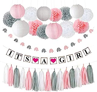 """Pococo Premium Baby Shower Decorations for Girl: Party Supplies 55 Pieces Pink, White, Gray Extra Large Kit Includes """"It's a Girl"""" Banner, 9 Pom Poms, 5 Lanterns, Elephant Garland, 15 Tassels"""