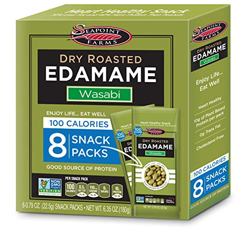 Seapoint Farms Wasabi Dry Roasted Edamame, Healthy 100-Calorie Snack Packs, 12ct