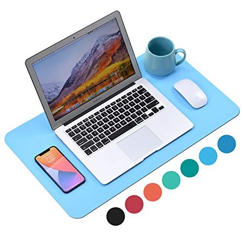 """WAYBER Non-Slip Desk Pad (23.6 x 13.7""""), Waterproof Desk Mat, PU Mouse Pad, Leather Desk Cover, Office Desk Protector, Desk Writing Mat for Office/Home/Work/Cubicle (Deep Sky Blue)"""