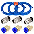 3Pcs 1.5 Meters Teflon Tube, ARPDJK PTFE Blue Tubing (4mm OD/2mm ID) - 3Pcs PC4-M6 Fittings and 3Pcs PC4-M10 Male Straight Pneumatic Fittings for 3d Printer Connector Accessories 1.75mm Filament