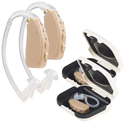 newgen medicals Accu Hörgerät: Akku-HdO-Hörverstärker HV-633, zwei Klangkulissen-Modi, 33 dB, 2er-Set (Hearing Amplifier)