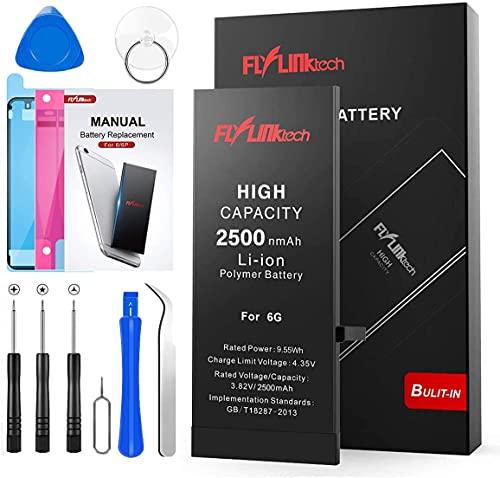 Batería para iPhone 6 2500mAH con 39% más de Capacidad Que la batería Origina, FLYLINKTECH Reemplazo de Alta Capacidad Batería para iPhone 6 con Kits de Herramientas de reparación, Cinta Adhesiva