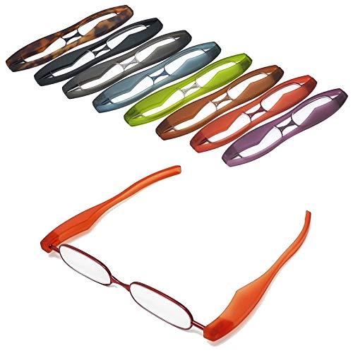 【ポッドリーダー スマート】超軽量 コンパクトな折りたたみ式 老眼鏡 8色 +1.0~+3.0 胸ポケットに入るサイズ Podreader (+2.0, レッド)