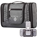 Hanging Toiletry Bag for women and Men - Borsali - Makeup and Toiletries Travel Accessories Organizer - Medium Bag - Compact Yet Roomy - Gray w/ Mirror