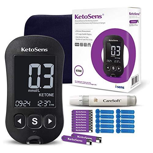 KetoSens Blood Ketone Monitoring Starter Kit + APP: Ideal for Keto Diet. Includes Meter, 10 Ketone Test Strips, 10 Lancets, Lancing Device & Case by i-Sens