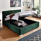 Designer Bett mit Bettkasten Sofia Samt-Stoff mit Biese Polsterbett Lattenrost Doppelbett Stauraum Holzfuß weiß (Smaragd, 140 x 200 cm)
