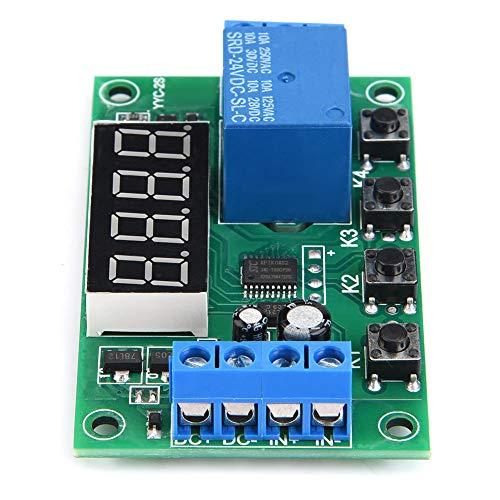 Nicoone Módulo de Interruptor de Control de Automatización de Relé de Temporizador Ajustable con Pantalla LED (24V) Azul
