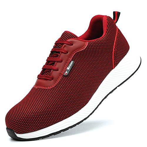 Easy Go – Zapatos de Trabajo para Hombre y Mujer, Ligeros, Zapatos de Seguridad, Puntera de Acero, Entresuela de Kevlar, Transpirables, Zapatos de protección, Color Rojo, Talla 41 EU
