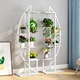 Tribesigns 5-Tier Plant Stand Pack of 2, Multi-Purpose Curved Display Shelf Bonsai Flower Plant Stand Rack for Garden, Patio, or Balcony, Home Use (White)