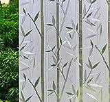 VSUDO 17.7' x 78.7' No Glue Static Cling Privacy Window Film, Bamboo Pattern Home Decor Window Tint Sticker (9.69 sq. ft)