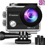 Crosstour Caméra Sport 4K Wi-FI Ultra HD Étanche 2'LCD 30M sous-Marine 170° Grand-Angle avec 2 Batteries Rechargeables 1050mAh et Kit d'Accessoires pour Cyclisme Natation Plongée