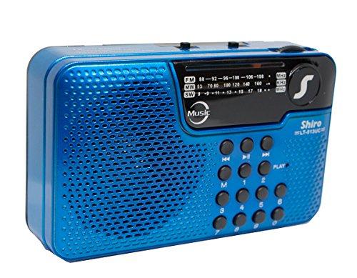 Shiro LT513UCA Radio Am/FM, Onda Corta, SD,USB, MP3, Auxiliar, Recargable, Color Azul