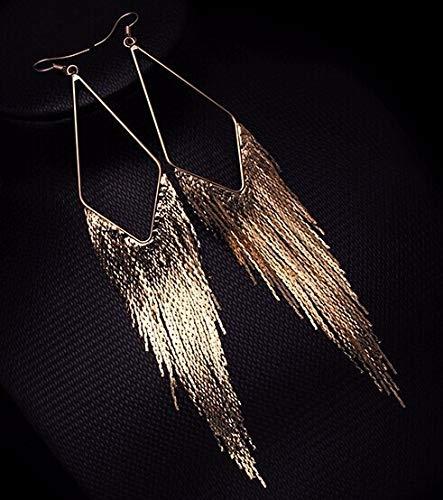 KGDUYH Pendientes largos de borla de color dorado para mujer, estilo vintage, con flecos, para decoración (color de metal: oro)