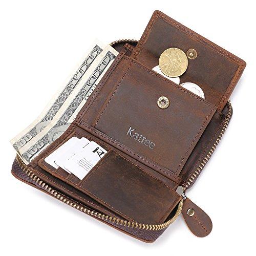 Kattee Unisex Vintage Look Genuine Leather Zipper Wallet Credit Card Holder Purse Photo #7