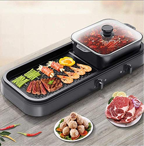 51WHZJh71UL - KOIUJ Multi-Funktions-Grill Bratpfanne Dual Purpose Barbecue Hot Pot EIN Pot Elektro Hot Pot Elektro-Backen-Wannen-Rinse-Wannen-Koch Pan Grilled Pan-Schwarz