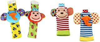 4pcs Baby Infant Socks and Wrist Rattles Soft Toys Set - Monkey and Elephant