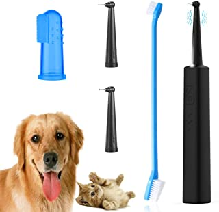 Dog Tartar Cleaner Electric Teeth Polisher Pet Calculus Plaque Stains Teeth Cleaner with 2 Clean Head Professional Puppy Dental Scaler Care Cleaning Tools Kit for Dogs Cats