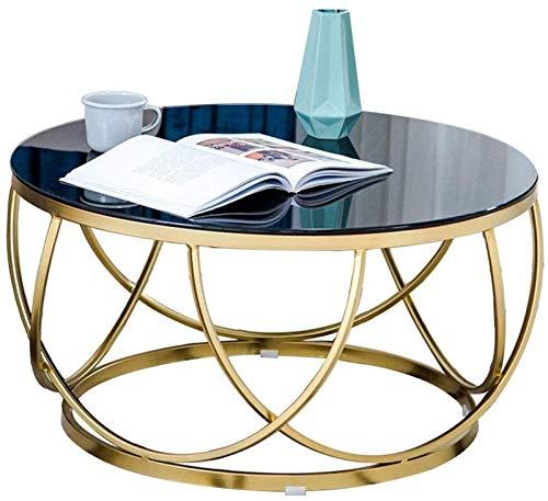 RSBCSHI Mesa de Centro - Mesa de té de Cristal Templado Redondo Elegante - Creatividad geométrica Mesa de cóctel de Marco de Oro - Sala de Estar Balcón Mesa Final de Oficina (Size : Medium)