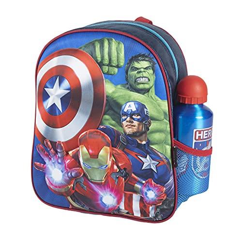 CERDÁ LIFE'S LITTLE MOMENTS 2100003594, Zaino per Bambini con Bottiglia d'Acqua The Avengers-Licenza Ufficiale Marvel, Blu, Mochila recomendada para Niños 3-6 Anni, en edad de preescolar