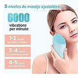 FASHSMILE Limpiador Facial Silicona Ultrasonico - Puerto de carga no poroso 5 - Velocidad Ajustable Recargable Cepillo Facial Electrico para Todo Tipo De Pieles (B-Azul)