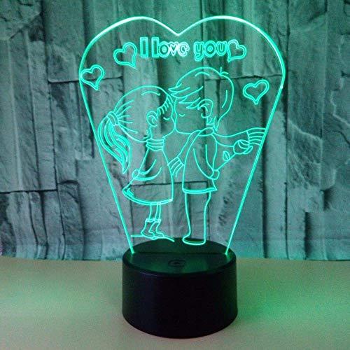 Lámpara de escritorio l.w.s Lámpara de mesa Te amo beso LED Luz de color degradado 3D Estéreo Táctil Control remoto USB Noche Luz de luz Cama Creative Decoration Desk Cumplea?os Regalo de boda 20 * 13