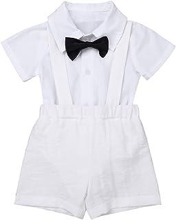2a481bbee9bc5 IEFIEL Bébé Garçon Fille Blanc Costume de Baptême Cérémonie Chemise à  Cravate + Pantalon à Bretelle
