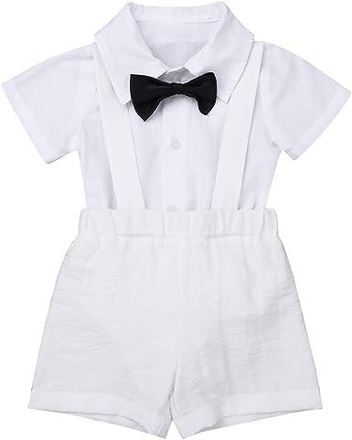 ranrann Traje de Bautizo Cumpleaños para Bebé Niño Disfraz Caballero Camisa Manga Corta Pantalones de Tirantes Pajarita Monos Bebé Recién Nacido ...