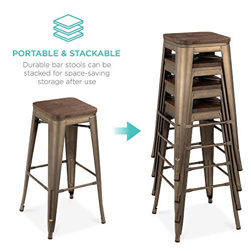 Best Choice Products Set of 4 Indoor Outdoor 30in Industrial Stackable Backless Steel Bar Height Stools w/Distressed, Weather-Resistant Finish, Wooden Seats, Rubber Cap Feet - Bronze