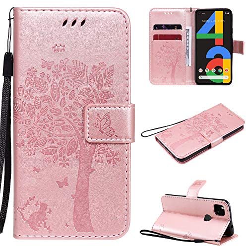 NOMO for Google Pixel 4a Wallet Case (Not for Pixel 4a 5G)[TPU Interior Protective Case] Flip PU Leather Emboss Tree Cat Flowers Folio Magnetic Kickstand Cover with Card Slots Holder,Rose Gold