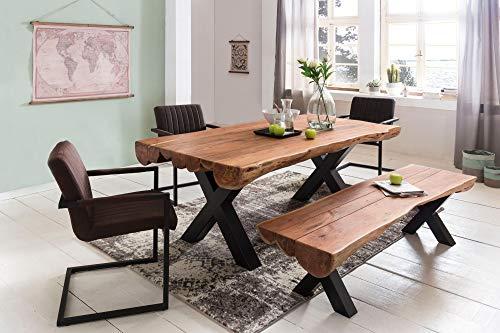 Esszimmertisch 200 x 100 x 77 cm Akazie Landhaus-Stil Voll-Holz Design Esstisch rechteckig Tisch für Esszimmer Baumstamm Küchentisch 8 Personen