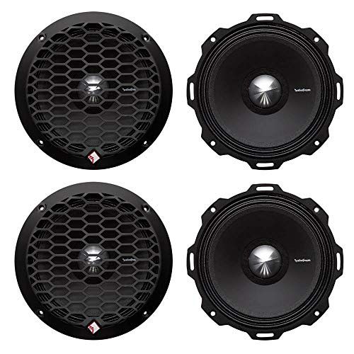 """Rockford Fosgate PPS4-6 6.5"""" 800W 4-Ohm Impedance Mid-Range Car Speakers 4 Pack with Fiber Reinforced Paper Cone and Stamp Cast Aluminum Frame"""