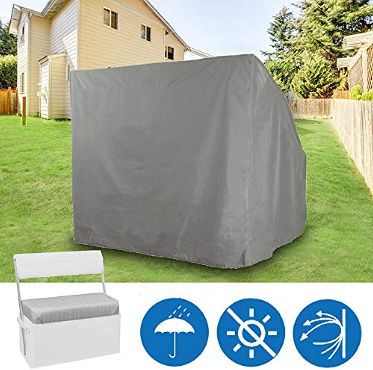 ShopSquare64 92 x 51 x 92cm Polyester Garden Furniture Waterproof Dustproof Cover Cap Swing Back Seat Cover