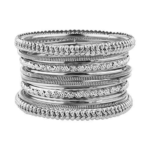 Efulgenz Boho Indian Bracelet Tribal Antique Oxidized Silver Tone Bangle Set Jewelry Silver