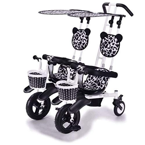 OLMITA El Carro De Bebé Doble Infantil De La Carretilla, Coche Doble, Gemelo del Triciclo del Cochecito De Bebé Doble De Bicicletas Bicicletas, Cochecito De Bebé En 1-2-3 Años De Edad