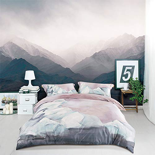MILDLY Duvet Cover Queen Pink, 100% Cotton Soft Lightweight Duvet Cover Set 3 Piece with Pillow Shams Zipper Closure, Reversible Blush Watercolor Printed Pattern Original Design, Casterly Rock