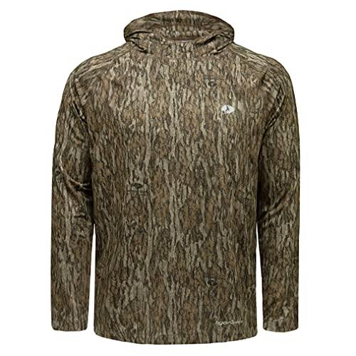 Mossy Oak Men's Standard Camo Hoodie Lightweight Hunting Shirts, Bottomland, Large