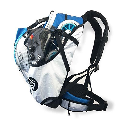 CADOMOTUS Airflow Sportrucksack 30+15L - Fahrrad Rucksack - MTB Rucksack - Inline Skater Rucksack Erwachsene - Ultraleicht und mit Rückenbelüftung, Helmfach und Schuhfach - Olympia Blau