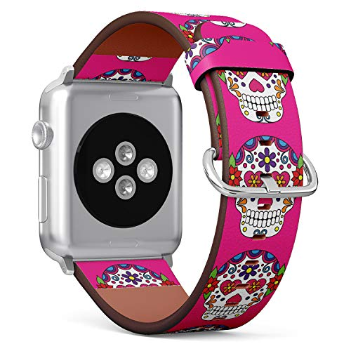 (Day of The Deal Sugar Skull) Patterned Leather Wristband Strap for Apple Watch Series 4/3/2/1 gen,Replacement for iWatch 38mm / 40mm Bands