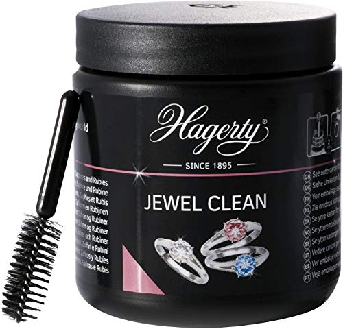 Hagerty Jewel Clean Jewellery Immersion Bath for Gemstones Gold Platinum 170 ml - Effective Jewellery Cleaner Diamonds sapphires Rubies - Jewellery Cleaning Bath for renewed Shine with Basket & Brush