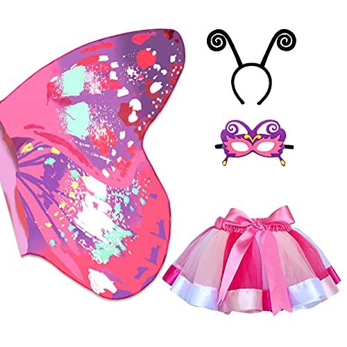 Alas Mariposa Niña, Disfraz de Hadas Mariposa Alas Hada,Falda tutú,máscara y Diadema Disfraces Halloween Mariposa Capa Disfraz Alas de Carnaval Vestido de Fiesta Niñas