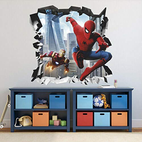 HUJL Wall Sticker Spider 3D Wall Decal Steel Wall Sticker, Removable Vinyl Sticker