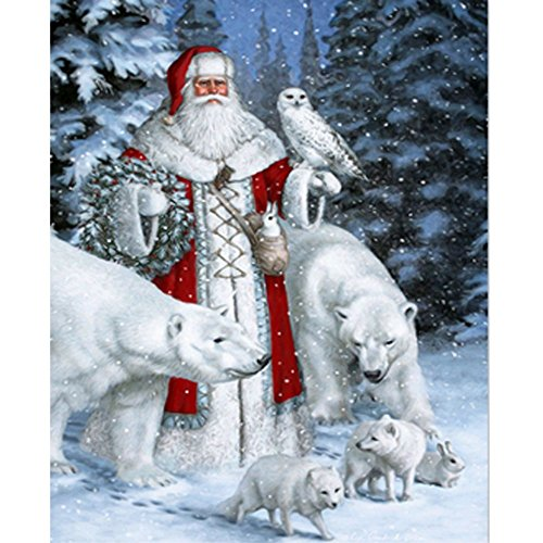 Diamond Painting Cross Stitch Kit - PigPigBoss New Design Christmas Gift 5D DIY Diamond Painting Embroidery Diamond Mosaic For Adult Santa Claus and Bear Diamond Painting ( 11.8 X 15.7 inch )